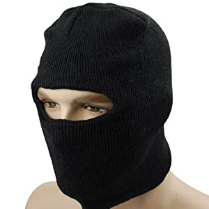 Buy Black One Hole Windproof Knit Full Face Biker Mask Facemask Police Cop SWAT Military Army Tactical WWI WWII Police... by Astra Depot