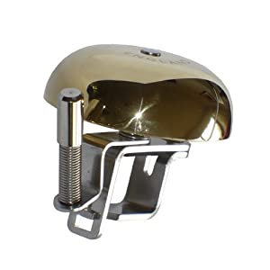 Retro Brass Bicycle Bell, made in England, 22-26mm stainless steel handlebar clamp & fittings, polished solid brass dome, loud musical sound