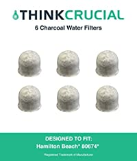 6 Hamilton Beach Charcoal Water Filters, Compare to Part # 80674, Designed & Engineered by Crucial Coffee