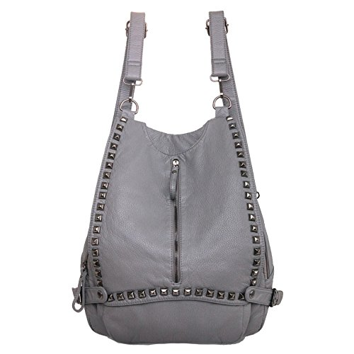 Cloudbag HB30108 PU Leather Handbag for Women,Fashion Solid Backpack,Gray