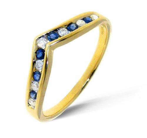 Classical 9 ct Gold Ladies Wishbone Diamond Ring Brilliant Cut 0.28 Carat I-I1 with Sapphire Size J