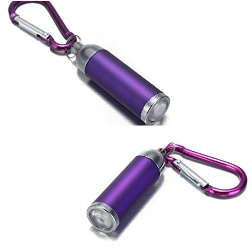 1Pc Bang-up Popular Mini Keychain LED Flashlight Convex Mirror Self Safety Lightweight Color Purple