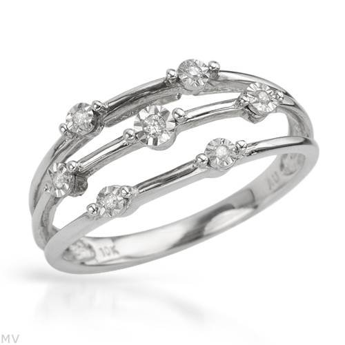 White Gold 0.05 CTW Color G-H I1-I2 Diamond Ladies Ring. Ring Size 7. Total Item weight 2.3 g.