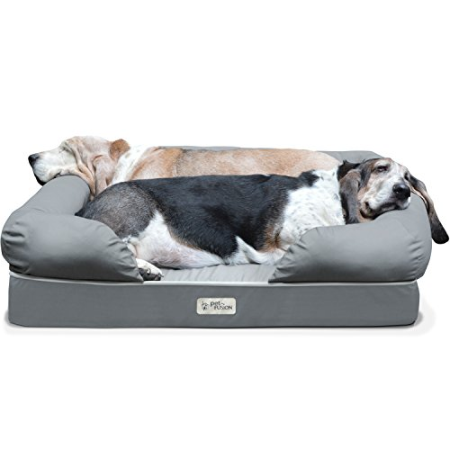PetFusion Ultimate Dog Bed & Lounge. (Large Gray, 36 x 28 x 9.5