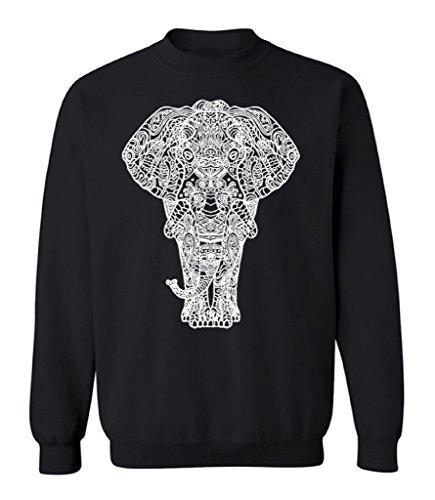 icustomworld Elephant Full Body White Crewneck Indian Art Work Sweatshirt S Black