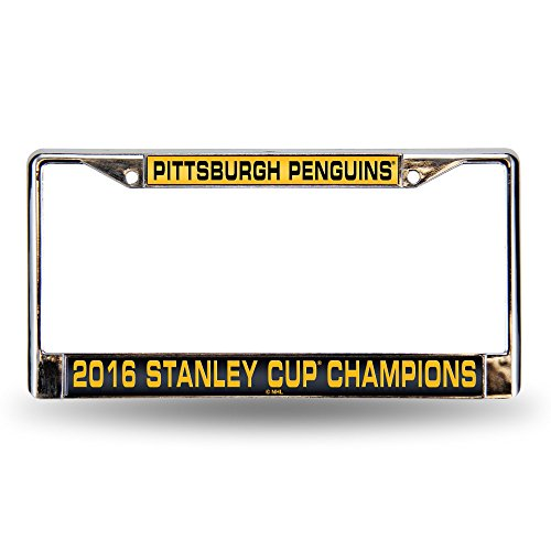 NHL Pittsburgh Penguins 2016 Stanley Cup Champions Laser Cut Chrome Plate Frame