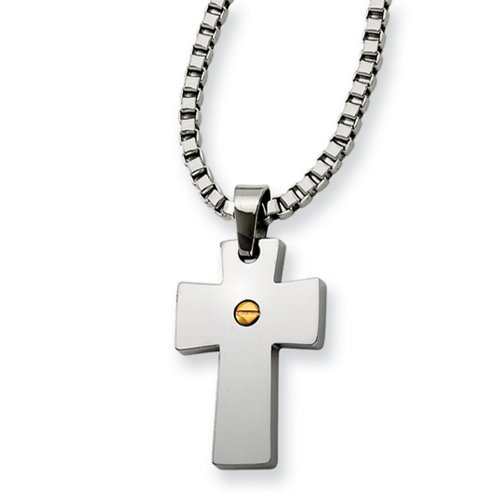Icecarats Designer Jewelry Stainless Steel Gold Ip-Plated Cross Pendant 18In Necklace In 18 Inch