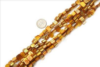 8mm--9mm gemstone yellow shell beads strand 15