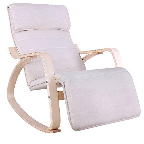 Songmics Poltrona dondolo con Poggia gambe di angolo regolabile a 5 gradi in Betulla Legno Carico Massimo 150 kg beige LYY10M