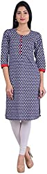 Geroo Women's Cotton Regular Fit Kurta (MKK-15112AZ, Blue, L)