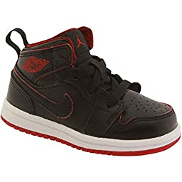 Toddler Jordan 1 Mid Black/Black-White-Gym Red (4c US Toddler)