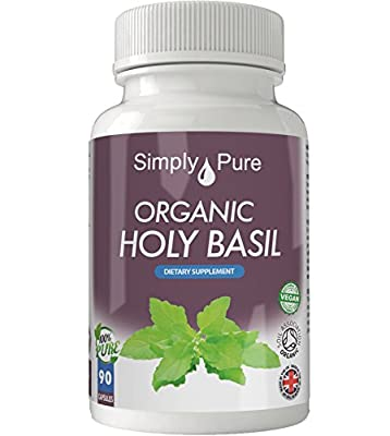 New - Exclusive to Amazon - Simply Pure - 90 Organic Holy Basil Capsules - High Strength (500mg) - Soil Association Certified - 100% Natural - Gluten Free - Vegan - Moneyback Guarantee