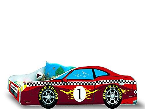 Lit enfant voiture F1 rouge sommier+matelas 160 x 80 cm