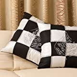Plush Plaza-Black & White Cushion Covers-16lx16b-black & White With Silver Tones