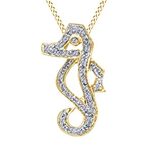 1/10 CT Natural White Diamond Seahorse Pendant Necklace in 14K Yellow Gold Over Sterling Silver (1/10 cttw)