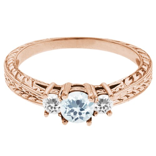 0.59 Ct Round Sky Blue Topaz White Sapphire 14K Rose Gold 3-Stone Ring