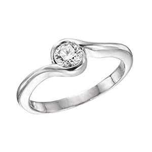 IGI Certified 14k white-gold Round Cut Diamond Engagement Ring (0.28 cttw, G Color, VS2 Clarity) - size 9