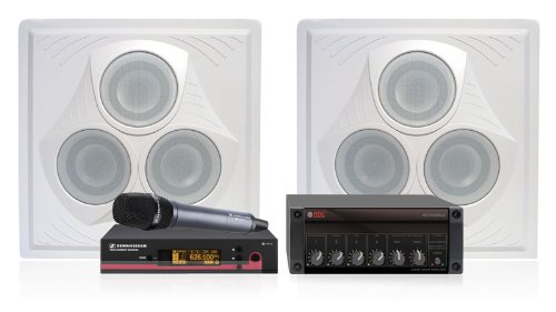Conference Room Sound System 2 Ceiling Speakers, Rdl 8 Ohm Mixer Amplifier, Sennheiser Wireless Handheld Microphone