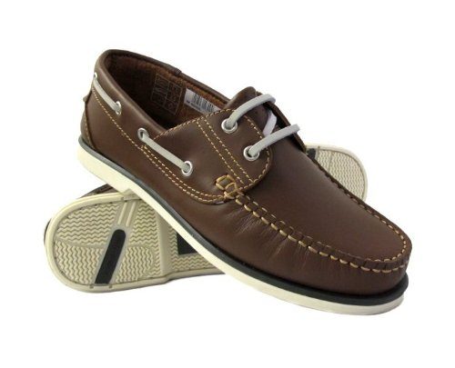 Mens Brown Leather Deck/DEK Boat Lace Up Shoes 8