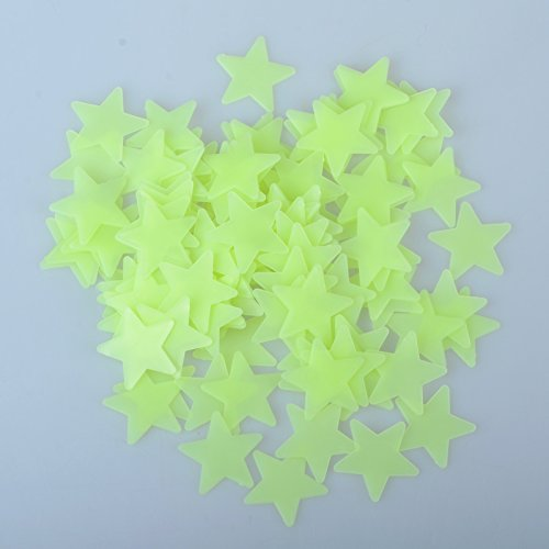 Pinksee 100pcs Plastic 3D Stars Glow In The Dark Fluorescent Wall Stickers