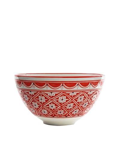 Le Souk Ceramique Nejma Deep Salad Bowl, Red/White