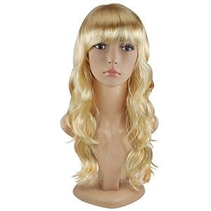 Beyondfashion Women's Long Curly Fancy Dress Wigs Costume Ladies Wig Fun Party (Blonde)