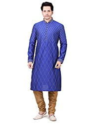Emuze Ethnic Kurta Pyjama Royal Blue Color Mens Set- FCKS_9283_RB_44