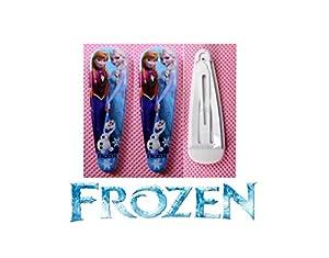 2 barrettes cheveux La reine des neiges Motif Elsa & Anna & olaf
