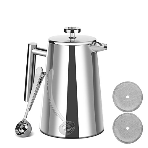 Zestkit French Press 8 Cup Double 18/10 Stainless Steel Wall with #100 Mesh / 149 Micron Filter Screens Coffee Tea Maker 34 oz