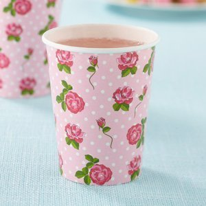 Shabby Chic Vintage Rose Design Paper Drinking Cups Pack 8 great for Summer parties