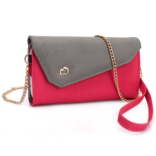 Kroo Women'S Clutch Wallet For Smart Phone With Shoulder Straps - Magenta And Grey