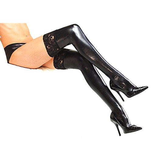 EFE Damen Sexy Glanz Wetlook Lackleder Optik Strümpfe Stockings Socks Gothic Strümpfhose