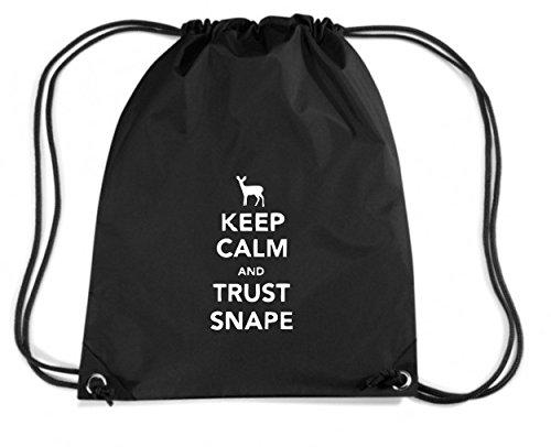 T-Shirtshock - Zaino Zainetto Budget Gymsac TR0087 Keep Calm and Trust Snape 25mm 1 Pin Badge Harry Potter Severus Voldemort, Taglia Capacita 11 litri