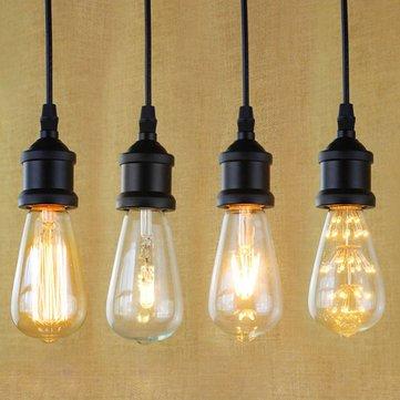 E27 Light Socket I Shape Vintage Retro Edison Bulb Pendant Lamp Holder With Hanging Wire 90V-240V