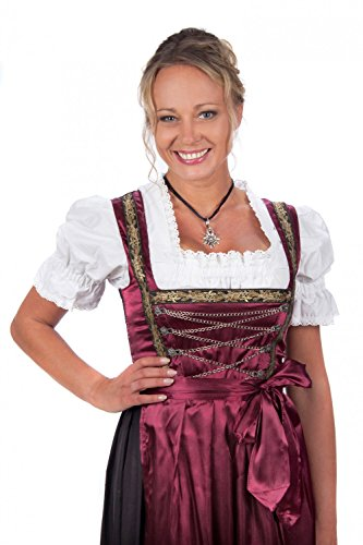 [Bavarian Women's Midi Dirndl dress 3-pieces with apron and blouse black red] (German Dress)