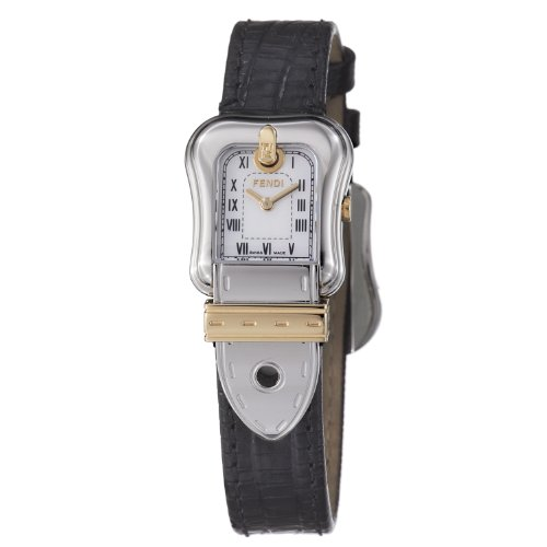 Fendi B. Fendi Ladies Black Leather Strap Two Tone Watch F372241