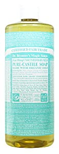 Dr. Bronner's Magic Soaps Pure-Castile Soap, 18-in-1 Hemp Unscented Baby Mild, 32-Ounce Bottles (Pack of 2)