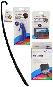 Age UK Shoehorn/ Credit Card Reader/ Key Turner and Pill Wallet Pack