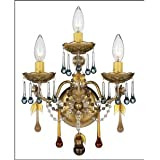 Best Deal For The Rose Three Light Wall Sconce Finish: Etruscan Gold- Crystal Color: Midnight Ming Vintage