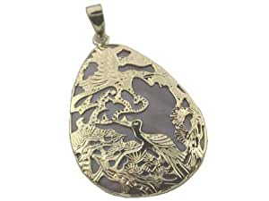 Pink Mother Of Pearl Egg-Shaped Bird Sanctuary Pendant, 14k Gold