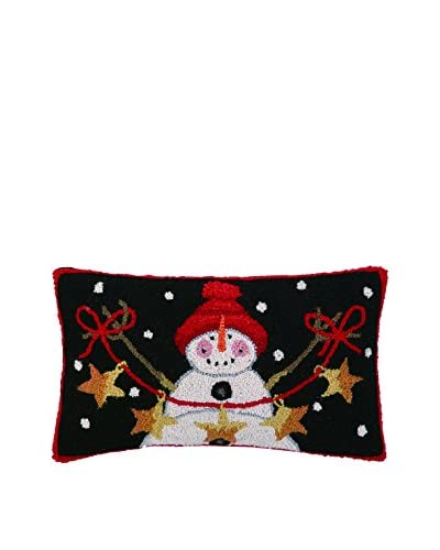 Peking Handicraft Snowman with Stars Lumbar Pillow, Black/Red