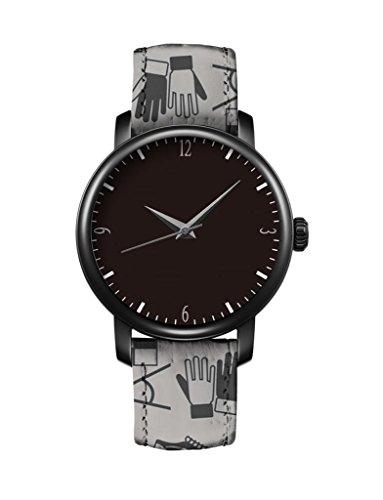 Günstige iCreat Damen Uhr Armbanduhr Uhren Quartz Einzigartige Design Handschuhe, Schuhe, Kleidung und weißen Retro-Muster Schwarzes Zifferblatt schwarz Fall