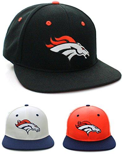 Nfl Denver Broncos Flat Bill Visor Logo Vintage Style Adjustable Snapback Hat Cap -Black