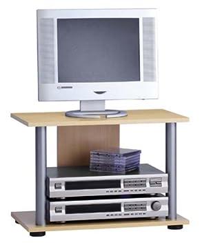 PEGANE Meuble TV en Panneaux de Particules L.120 x H.50 x P.35 cm Dim Gris b/éton LA//Blanc Brillant