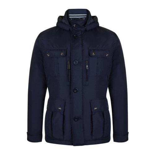 High quality Men's 4 pocket padded jacket with hood- Blue
