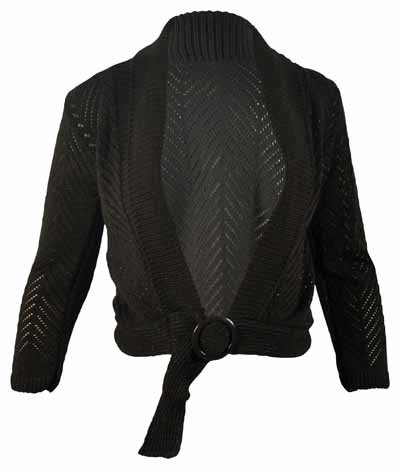 Ladies Glitter Cardigan Belt Buckle Womens Long Sleeve Knitted Shrug Bolero Top