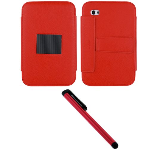 GTMax Red Premium Leather Case Folio with Built in Stand + Red Universal Stylus for Samsung Galaxy Tab SCH I800 / P1000 / SGH T849 / SPH P100