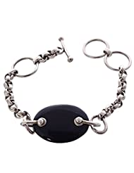 Soriva Black Color Silver Bracelet With Black Onyx Gemstones For Unisex