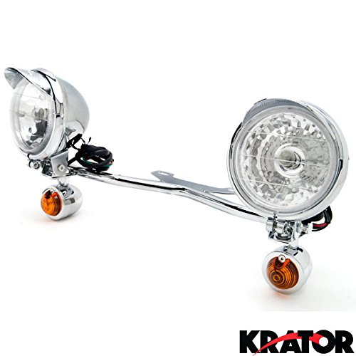 Krator Chrome Motorcycle Driving Passing Spotlight Light Bar & Turn Signals Cruiser (Motorcycle Driving Lights Chrome compare prices)