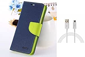 ASG Premium Front Cover For Samsung Galaxy Note 4 (Blue)+ Data Cable (White)